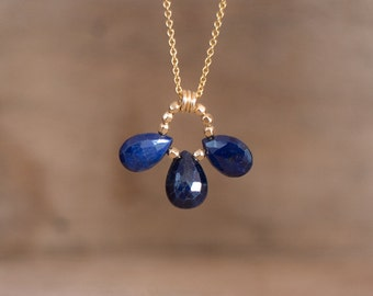 Sapphire Trio Necklace, Genuine Sapphire Necklace, September Birthstone, Gemstone Jewellery, Silver Gold Sapphire Jewelry, Wife Gift