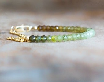 Grossular Garnet Bracelet, Green Garnet Ombre Bracelet, Green Gemstone Bracelet, Multicolour Bracelet, Gold Silver Watercolour Bracelet