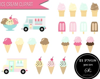 "Ice cream clipart set: ""ICE CREAM CLIPART"" with 21 ice cream cone, soft serve, popsicle, ice cream truck pink and mint digital designs"