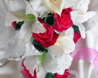 17 pieces Silk Bride Cascade bouquet hot pink , Fuchsia , Teal and ivory roses, callas, casablanca lilies and orchids