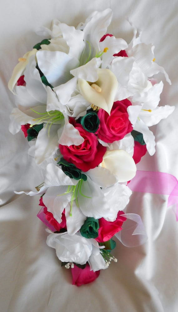 Lilies silk bride cascade bouquet hot pink , fuchsia , teal and ivory roses, callas, casablanca lilies and orchids