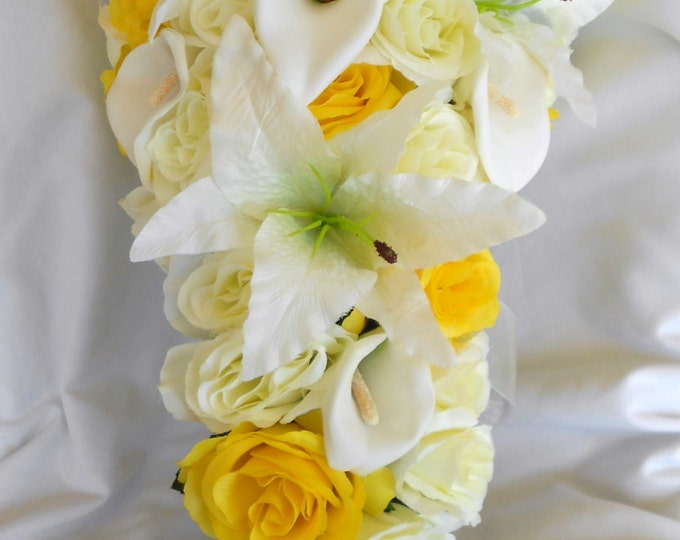 Yellow and ivory silk bride cascade bouquet calla lilies, roses and callas  2 pieces wedding flowers