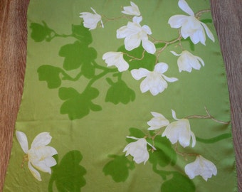 Lovely Silk Scarf, Floral Motives Silk Scarf,  Green and White Colours, Vintage Silk Scarf,  Made in Italy
