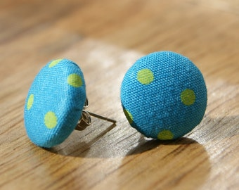 Beautiful fabric covered stud earrings