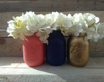 Coral and Navy, Coral Navy and Gold Painted Mason Jars, Coral and Navy Wedding Decor, Navy and Coral Hand Painted Mason Jars, Centerpieces