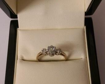 9ct Aquamarine & Diamond Ring Size M