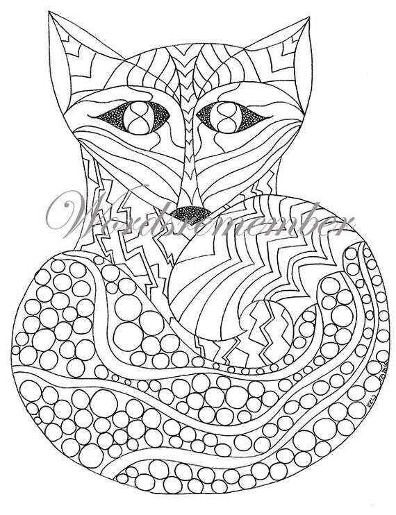 Adult Coloring Page Fox Art Digital Download Woodland