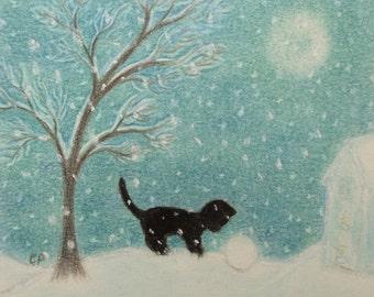 Cat Print: Kitten Snow Print, Cat Gift, Children Art, Cat Art Print, Snow Print, Kids Art, Cat Snow Moon, Small Print, Black Kitten Tree