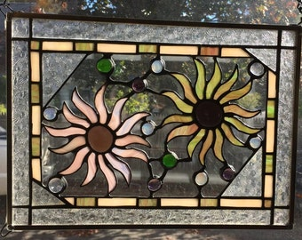 Pink and green stained glass flowers window hanging