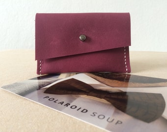 Pink Distressed Hand stitched Simple Leather Wallet, Business Credit Card Holder, Minimalist Wallet