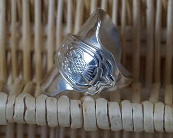 Thistle Spoon Ring, Spoon ring, Cutlery Jewellery, Spoon Jewelry, Scotland Thistle, Cutlery jewelry, Flatware jewellery,