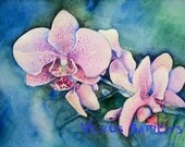 Original watercolor painting, wild orchid, Watercolor etude, Wall decor, Size 8X10 inches or Size A4 (21Х29,7cm)