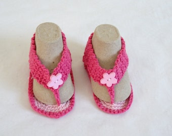 baby Flip flops made in pink cotton