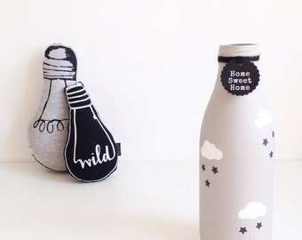 Personalised hand painted extra large milk bottle with clouds and stars