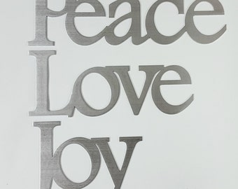 Peace, Love, and Joy Christmas Holiday Decoration Wall Decor Metal Aluminum Silver