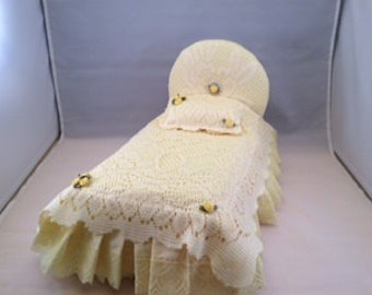 Handmade Yellow and White Lace Barbie Doll Bed
