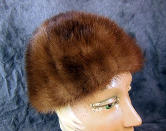 Mink Hat by Marche In Excellent Condition