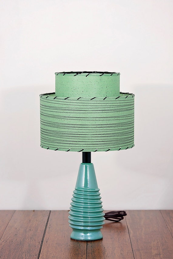 restored mid century modern lamp and shade by modilumi on etsy. Black Bedroom Furniture Sets. Home Design Ideas