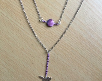 purple foxy double chain layered necklace