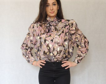 Vintage Colorful Bow Tie / Tie Neck Long Sleeve Ascot Silk Blouse