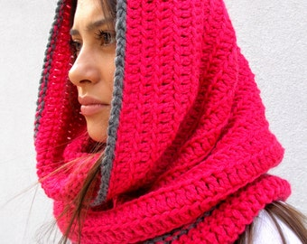 PINK Hooded Scarf/Croshet Hood/Cowl In Color Pink/Alpaca Wool Hood/Wave Chunky Cowl/Soft Woman Hooded Scarf/Cowl Winter Accesory NEW