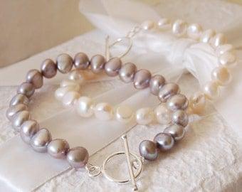 Ivory Freshwater Pearl And Sterling Silver Bracelet (BRA008) ~ Wedding, Bridesmaid, Birthday, Anniversary
