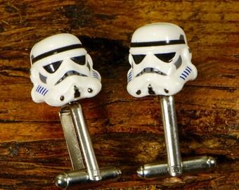 Star Wars Cufflinks - Storm Trooper Cuff Links - Groom Wedding Cufflinks Gift For Him - Sci-Fi Cufflinks - Mens Wedding Present