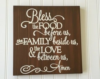 Bless the Food Before Us Sign - Dining Room Decor - Kitchen Sign - Children's Prayer - Prayer Before Meals - Kitchen Decor - Prayer Sign