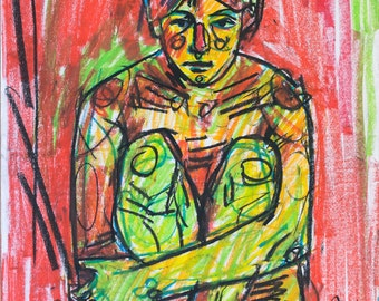 Figure painting, red painting, print on paper, modern art print, affordable print, modern artist, color painting, abstract painting, red art