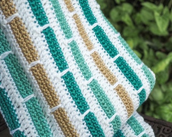 Hand Crocheted Green, Tan and White Baby Blanket