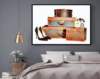 Fashion luggage Watercolor  24X36 inc Shoes watercolour make up brushes art print fashion illustration fashion art perfume gift for her