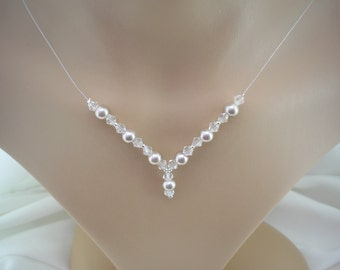 Natasha ~ Pearl and Crystal Drop Necklace - Silver Plated - Choose Colour and Size (9cc)