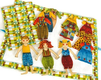 Fabric Paper Doll Set - 13 Pieces; Soft Toys; Travel Play Set; Quiet Time Toy Set