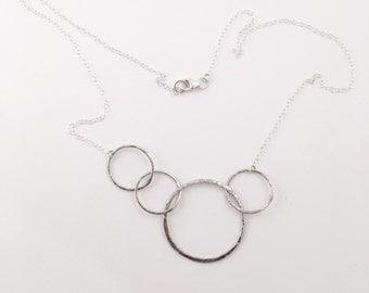 Interlocking Silver Circles Necklace