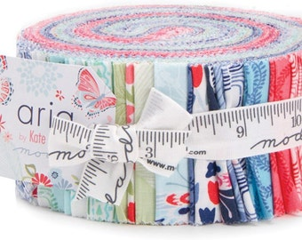 Sale! - Moda Fabrics - Aria Jelly Roll / Kate Spain Floral, Butterfly, Navy, Blue, Pink on White