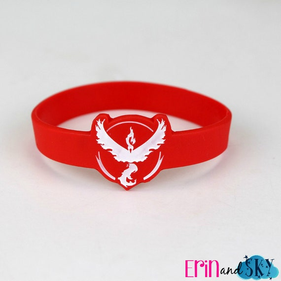 Team Valor Wristband - FREE SHIPPING - Pokemon GO Inspired Bracelet - Red Team Pokemon Gift - Geeky Video Game Gamer Rubber Band Bracelet