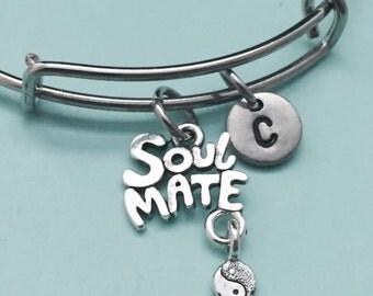 Soul mate bangle, soul mate charm bracelet, expandable bangle, charm bangle, personalized bracelet, initial bracelet, monogram