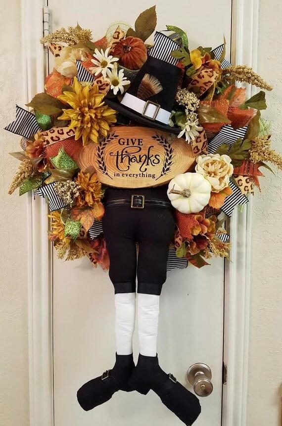 Pilgrim Wreath Thanksgiving Wreath Fall Wreath Pumpkin