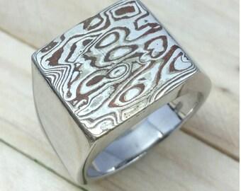 Mokume Gane pattern on top of ring