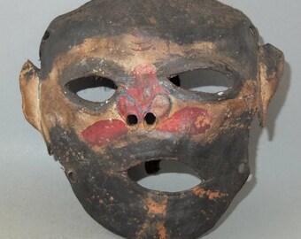 Ancien masque en cuir couleur népalais avec partie supérieure de la peau, cérémonie Primitive Festival Art l'Himalaya népalais, LIVRAISON GRATUITE
