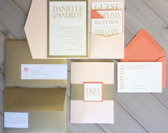 Blush and Gold Wedding Invitations, Pink, Gold and Coral Wedding Invitations, Modern Wedding Invitations, Pocket Invitations, Destination