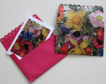 6 Mini envelopes and blank floral  cards ~ These unusual flower cards are perfect for invitations, birthdays or thank you notes.