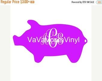 Monogram Pig Decal, Name Decal, Pig Decal,school label,  Vinyl Decal, Car Decal, Custom Decal, Computer Decal, Hog Decal, Pig Car Decal