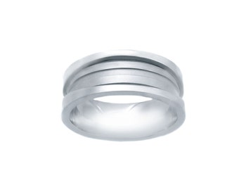 14k White Gold Wide Wedding Band With Wave Design