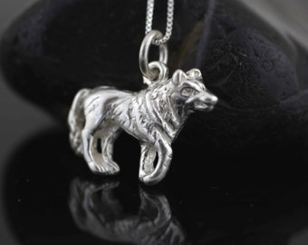 Silver Wolf Necklace, Sterling Silver Wolf Necklace, Sterling Silver Wolf Pendant, Wolf Charm, Silver Men Necklace, Silver Husky Necklace