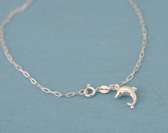 Dolphin Anklet bracelet,  Sterling Silver 925 Dolphin Charm Anklet, Silver Anklet, Sterling Silver Dolphin Anklet,  Boho Beaded Anklet