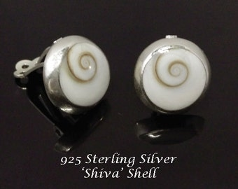 Clip On Earrings 120:  Shiva Shell Sterling Silver Clip On Earrings | Silver Earrings, Earrings, Gifts for Women, Clip On Earrings 120