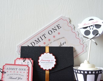 Movie Night Invitations: ticket shaped invitations, digital or prints, black embossed tri-fold with belly band, formal, gold ribbon- LRD038P