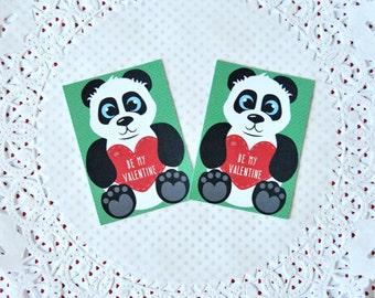 Printable Mini Panda Valentine's Cards: do it yourself print and cut miniature valentine, panda bear holding heart, green and black- LRD007V