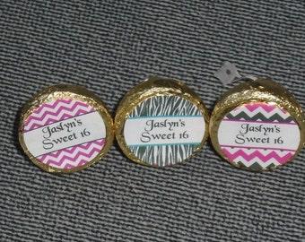 120 Custom Made Chevron/Zebra Print Sweet 16 Kiss candy/Mini bubbles labels@* Peel & Stick